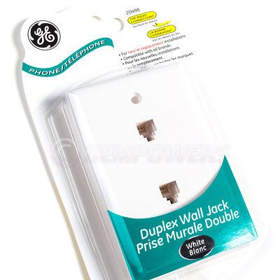GE Phone Jack Duplex Wall Mount Plate 2 Telephone Outlet 4-Wire RJ11 White NEW