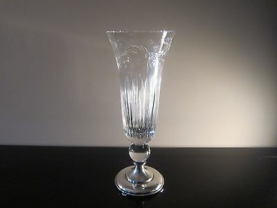 Hawkes Sterling and Cut Crystal Vase 14.75 Inches Tall Beautiful and Rare