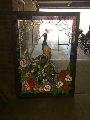 Nice Large Peacock Hand Made  Stained Glass Window - Bp177