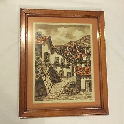 Vintage MEXICAN TOWN WATERCOLOR BY REYES