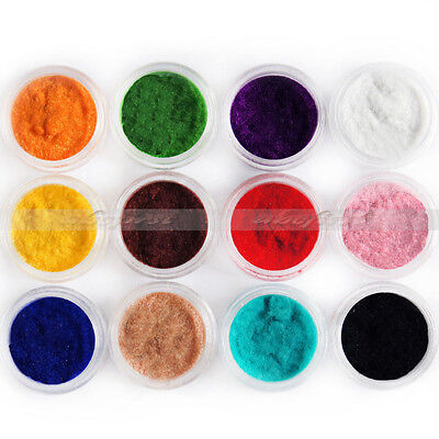 12 x Color Acrylic Velvet Flocking Liquid Glitter Powder Dust Decor Nail Art Kit