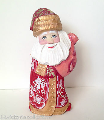 Russian SANTA with Bag of Presents Hand Carved Hand Painted SIGNED