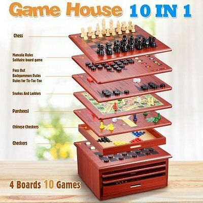 NEW 10 in 1 Kids Adults Family Wooden Board Fun Indoor Games House - Brown