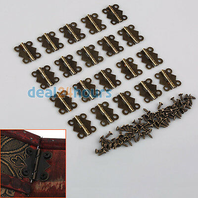 20x Decorative Vintage Butterfly Hinges For Cabinet Jewelry Box S M L Size Bronz