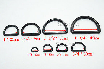 Plastic D Ring Webbing Strapping Leather Bag Shirt Craft Black 8 Sizes