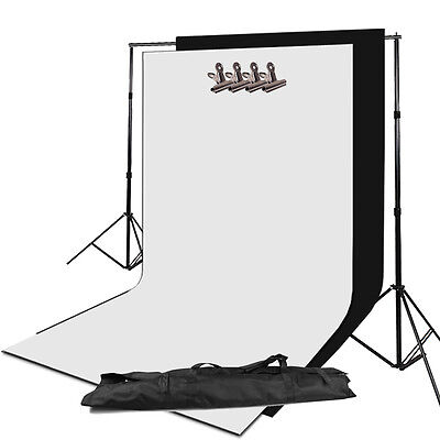 Photo Studio 2x3m Background Support Stand Frame Set + White Black Backdrop Kit