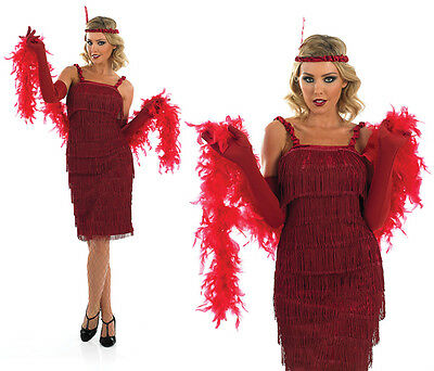 Ladies Red Flapper Fancy Dress Costume 20S Charleston Gatsby Girl Outfit UK 8-30