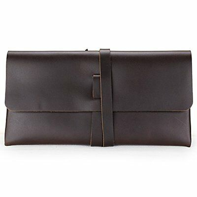 ANCICRAFT Simple Classic Vintage Soft Genuine Leather Pencil Pen Case Pouch Hold