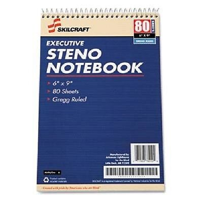 "12/Pack SKILCRAFT Gregg Ruled Steno Notebook NSN2237939 80 Sheet  6"" x 9"""