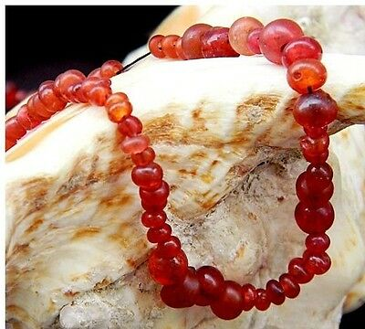 Original Ancient Khmer  translucent red tomato glass bead 11th Century Necklace
