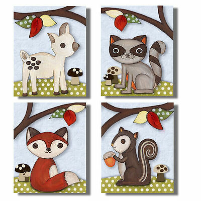 Sweet Forest Friends neutral WALL ART FOR NURSERY bedding decor for baby's room