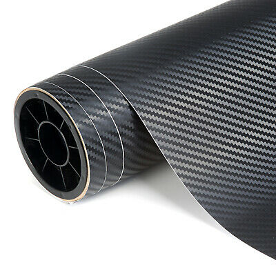 Carbon Fibre Vinyl 3D Car Vehicle Wrap Film Bubble Air Free 1520mm x 300mm Black