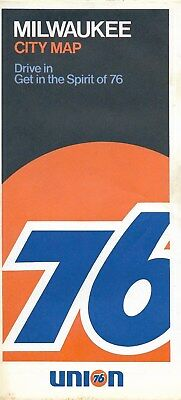 1972 UNION 76 Road Map MILWAUKEE Wisconsin Wauwatosa Whitefish Bay Shorewood