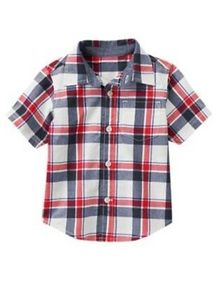 Gymboree Star Spangled Summer Red White & Blue Plaid Woven Shirt 18 24 2T 3T Nwt