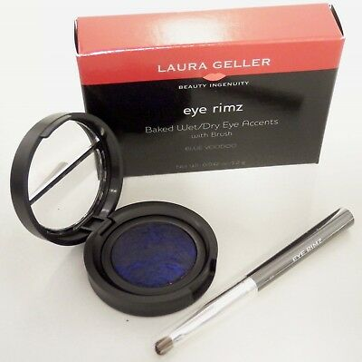 Laura Geller Eye Rimz BLUE VOODOO Cobalt Shimmer Blue Baked Shadow/Liner w/Brush