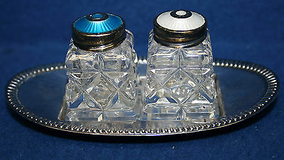 Norway Sterling Silver Guilloche and Cut Crystal Salt and Pepper Shakers w Tray