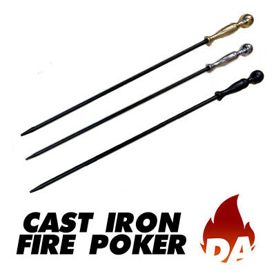 Cast Iron Fire Poker In Black, Brass, Chrome For Wood Stoves And Open Fire
