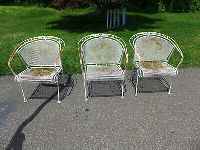 Vintage Woodard Wrought Iron Outdoor  Set of 3 Chairs