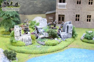 Gelände: Ruinen (4 teilig) / Scenery: ruin set (4 pcs.) ready-to play