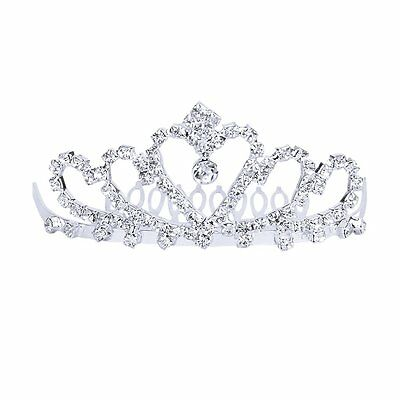 Flower Rhinestone Bridal Tiara w/ Comb Pin for Wedding/Prom HE