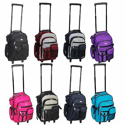 """Deluxe Wheeled Rolling 18"""" Carry on Travel Luggage Travel Backpack Bag"""