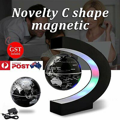 C Shape LED World Map Decoration Magnetic Levitation Floating Globe Light Black