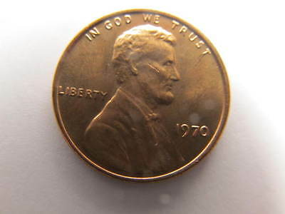 1970-P Lincoln Memorial Small One Cent Mint State Gem BU Red