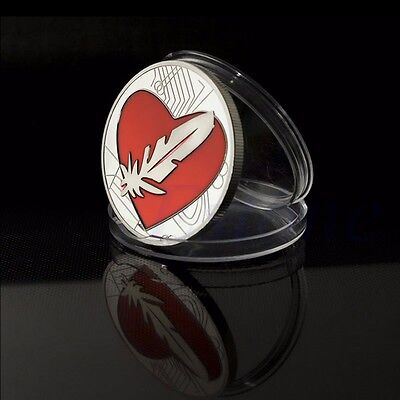 Like Bitcoin Heart Love Feathercoin Souvenir Token Silver Plated Feather Coin