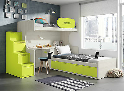 komplett kinderzimmer hochbett kleiderschrank stauraum bett treppe in 32 farben eur. Black Bedroom Furniture Sets. Home Design Ideas