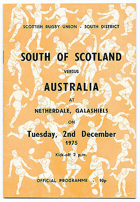 1975 - South of Scotland v Australia, Touring Match Programme.