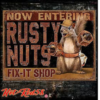 American Hot Rod Garage Vintage Rusty Nuts  Advertising Metal Tin Wall Signs UK