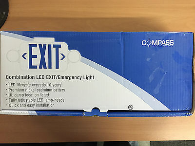 2-Light Thermoplastic LED Emergency Exit Combo Remote Capacity Compass ccrrc