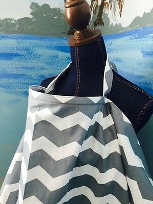 NURSING COVER like HOOTER hider* BREASTFEEDING COVER gray white chevy zig zag