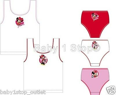 Girls Disney Minnie Mouse Vests & Briefs Pants Knickers Set 2 to 8 Years 5 Piece