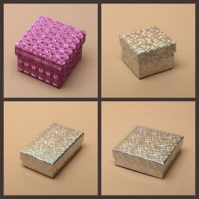 Silver Pink Hologram Jewellery Gift Box For Ring Necklace Bracelet Earrings New