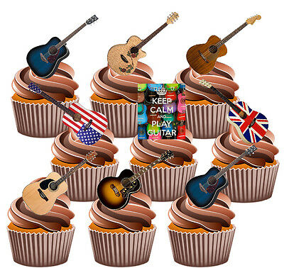 PRECUT Acoustic Guitars - 36 Edible Cupcake Toppers Birthday Cake Decorations