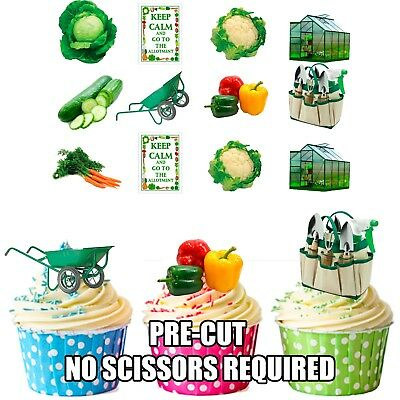 Precut 36 Allotment / Gardening Edible Cupcake Toppers Birthday Cake Decorations