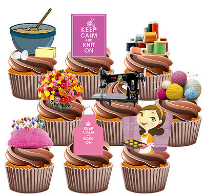 Sewing / Baking Party Pack, Cake Decorations 36 Edible Stand-up Cupcake Toppers