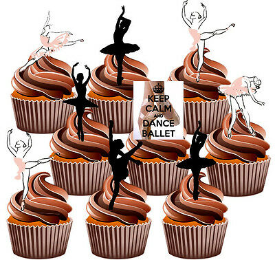 Ballet Dancers Party Pack, Cake Decorations 36 Edible Stand-up Cupcake Toppers