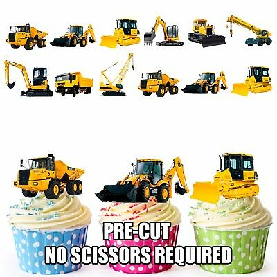 PRECUT JCB Construction Diggers 36 Edible Boys Cupcake Toppers Cake Decorations