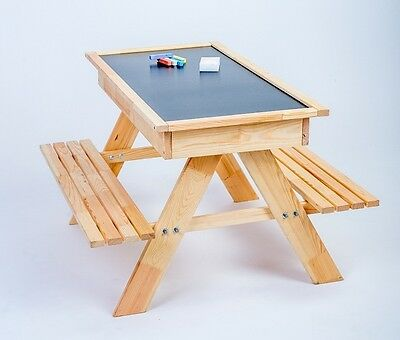 NEW Wooden TABLE + 2 BENCHES + SANDPIT + CHALK BLACKBOARD