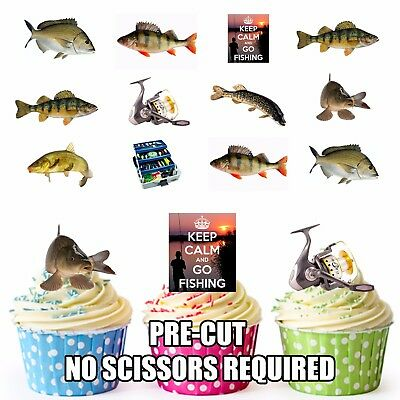 Fishing Party Pack Birthday Cake Decorations 36 Edible Stand-up Cupcake Toppers