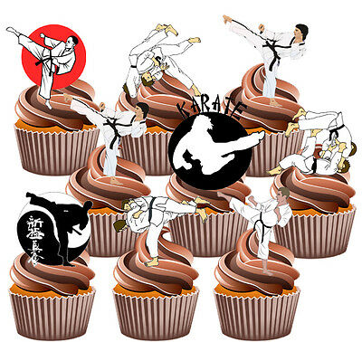 Martial Arts Party Pack, Cake Decorations - 36 Edible Stand-up Cupcake Toppers