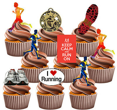 Running Runner Party Pack, Cake Decorations 36 Edible Stand-up Cupcake Toppers