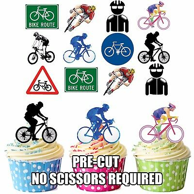 PRECUT Cycling Cyclist Party Pack 36 Edible Cupcake Toppers Cake Decorations