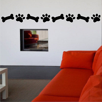 Dog Paw Print And Bone Decal Dog Removable Wall Sticker Pet Decal Paws DIY