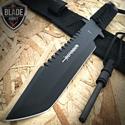 """11"""" Hunting Tactical Combat Survival FIXED BLADE Knife w/ Firestarter Bowie"""