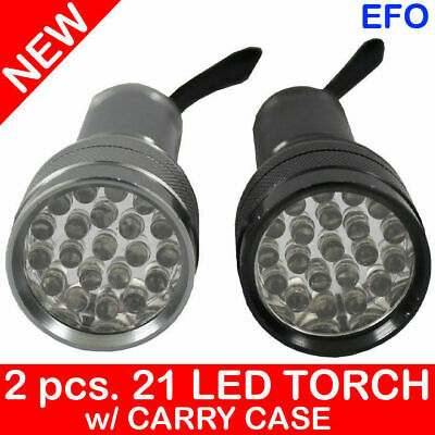 21 LED MINI FLASHLIGHT TORCH BATTERY OPERATED x2 PIECES [2 pcs] + CARRY CASE