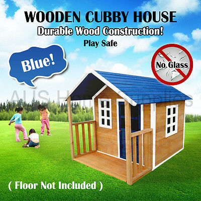 Blue Wooden Cubby House Outdoor Furniture Playhouse Durable Wood Safety Kid Play