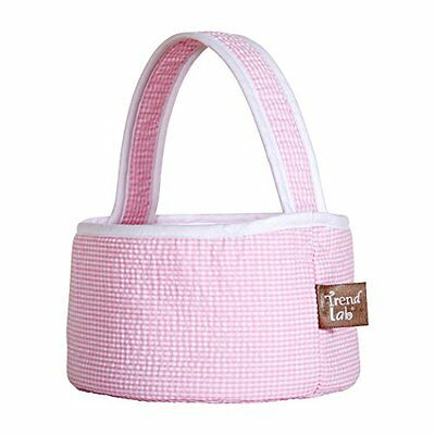 Trend Lab Pink Gingham Seersucker Collapsible Round Caddy, New, Free Shipping